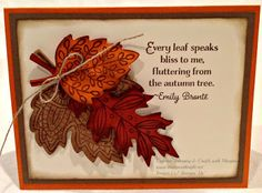 Leaf card using extras from Witching Decor Project Kit & Lighthearted Leaves Stamp Set from Stampin' Up! Holiday Catalog 2015