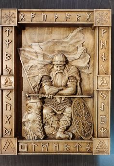 Viking warrior horns of odin rune norse mythology heathen asatru scandinavian pagan Wall Hanging wood carving home decor Valhalla valknut – Taller De Carpinteria Norse Runes, Viking Runes, Viking Art, Norse Mythology, Wood Carving Designs, Wood Carving Patterns, Wood Carving Art, Wood Art, Vikings