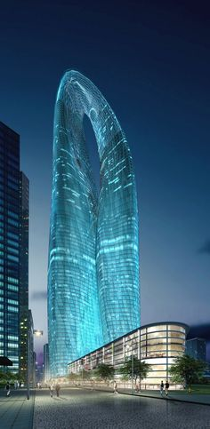 Guangzhou Twin Towers (West Tower), Guangzhou, China by MAD Architects :: height 450m, proposal