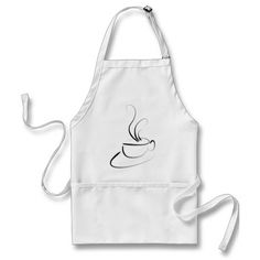 Me Want Coffee Apron. Simple coffee mug artistic drawing. Add your company's name for a quick coffee house apron, or share your love for the brew - as a gift for yourself or a friend. Image hand drawn by yours truly and custom printed just for you.