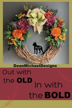Grapevine wreath with the BOLD colors of fall. This original design will look good inside or outside to greet your guests. Handmade by DeanMichaelDesigns. Crafted on an 18 inch grapevine form. Featuring burgundy and orange flowers on a bed of greenery. Fall decorating. Fall decor. Decorate for fall. Interior design. Exterior design.