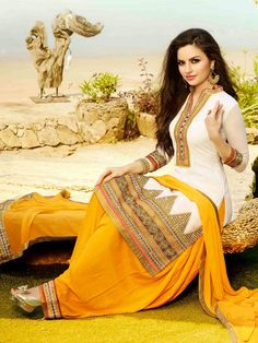 WHITE WITH YELLOW EMBROIDERED STRAIGHT SALWAR KAMEEZ SUIT
