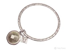Tutti & Co textured silver bangle with smokey grey stone