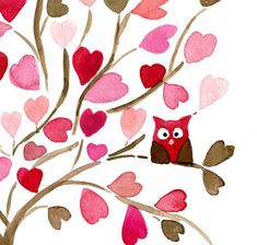 owl in a tree wall art, 3d character, mothers day, girl nurseries, art prints, owl, baby girls, vintage roses, heart tree