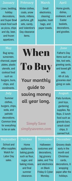 When To Buy: A Monthly Guide - Finance tips, saving money, budgeting planner Ways To Save Money, Money Tips, Money Saving Tips, How To Make Money, Money Savers, Quick Money, Money Fast, Hide Money, Info Board