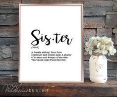 Printable Wall Art Sister dictionary definition minimalistic
