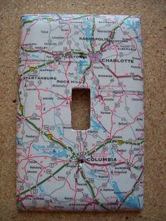 Charlotte North Carolina Columbia South Carolina Road Map Light Switch Plate