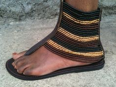 African Masai Beaded Sandals by CraftsByGertrude on Etsy