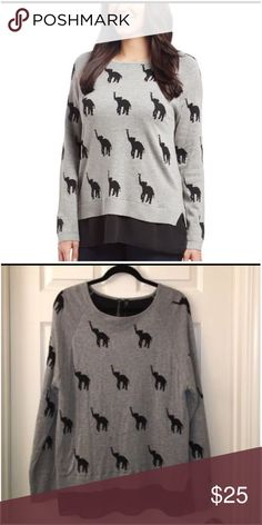NEW LISTING💜Allie & Rob Elephant Tunic sweater Size Large.  💟Fast 1-2 day shipping 💟Reasonable offers accepted 💟Purchase 3 or more items & get a special bundle rate!  💟Smoke-free home allie & rob Sweaters Crew & Scoop Necks