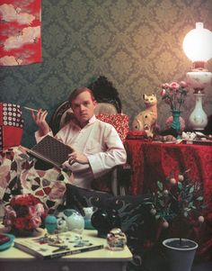 Truman Capote at his home in Brooklyn,  1958. Photograph by Slim Aarons.