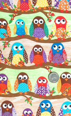 scrapbook paper...each kid makes an owl..group work. CUTE