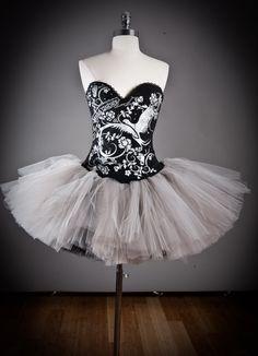 Size Medium Silver and black Burlesque Corset tutu Prom dress Ready to Ship. $260.00, via Etsy.