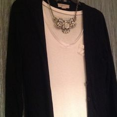 2 for 1 bundle white top with black cardigan The cardigan is forever 21 brand is button down halfway long sleeve. Super soft and stretchy. The white top is Derek heart brand with buttons on sleeves super soft and stretchy too. Accessories not included. Both size medium Forever 21 Tops