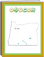 Thematic Unit - Oregon - Each state thematic unit is 13 pages. They offer information about the following: history, Capital, flag, tree, bird, flower, size, location, climate, topography, industry, natural resources, waterways  The following pages are also included: questions, word unscramble, spelling, state map, add your own information, answers
