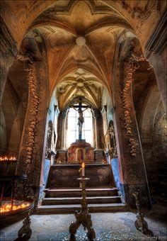 Interior of ossuary in Sedlec, Central Bohemia, Czechia #travel #Czechia