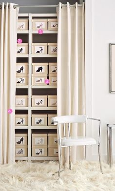 Create a tidy and discreet shoe library - Repurpose a standard open bookcase as a shoe rack. Make sure the shelves are at least a foot deep to accommodate the average shoe box. (Boot boxes are about twice that size and can be shelved sideways.)