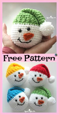 Click below link for free pattern… Crochet Cute Snowman – Free Pattern – Diy 4 Ever Bag Crochet, Crochet Gifts, Cute Crochet, Crochet Dolls, Crochet Beanie, Chrochet, Crochet Snowman, Crochet Ornaments, Crochet Christmas Decorations