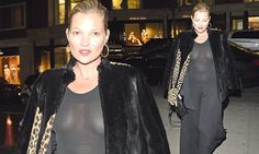 Kate Moss braless in jumpsuit for Knightsbridge dinner | Daily Mail Online