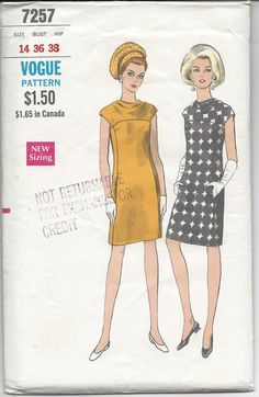 This is a 1960s Vogue Sewing Pattern #7257 to sew a slim dress with pockets in side front seams and cap sleeves. Has bias yoke with cowl neckline