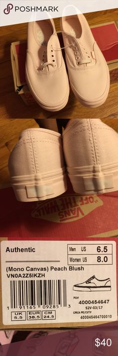 Peach/ Blush Mono Vans New. Never Worn. Size 6.5 Men/ 8.0 Womens. Vans Shoes Sneakers