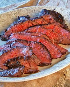 Grilled Hanger Steak - red wine, Worcesteshire sauce, and mustard marinade.  Can use hanger (aka, butcher) steak, London broil, or big sirloin steak.