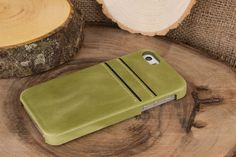 iPhone SE / 5 / 5S Leather Cover, iPhone 5S Leather Case, The Best Snap-on Case for iPhone, Perfect for 2 Essential Cards in Olive Green by IstanbulLeatherShop on Etsy