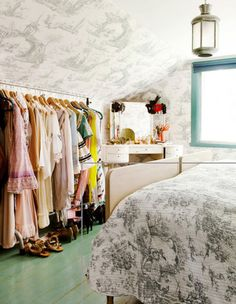 cozy room w/ toile de jouy wallpaper