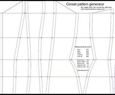 This is a guide to using the corset pattern generator, made by Mette Wikkelsø from http://largerthanlifedress.blogspot.dk/This is not a finished pattern! The generated pattern should not be used without a mock-up, as it only takes into account the total measurements of the body, and not any asymmetries, or if the wearers bodytype varies from the corset style used.The generator is based on the free guide to making corset pattern from Foundations Revealed.
