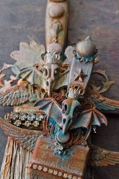 Want to know how Renee Zarate created this Old World patina? Check out the March/April issue of Somerset Studio. Recycled Art, Repurposed, Old Jewelry, Jewellery, Green Craft, Bird Skull, Top Artists, Inspirational Artwork, Assemblage Art