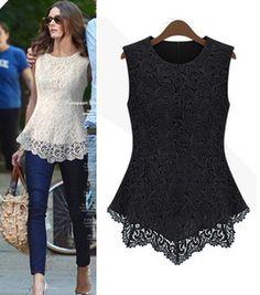 Black White Sleeveless Womens Crew Collar Lace Peplum Blouse Top Vest Shirts   eBay