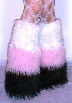 2dc6e3d2436bb 3 Tone Furry Leg Warmers UV White / Baby Pink / Black Furry Leg Warmers,