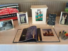 Choose a theme for your gift table and guest book! Photo taken by: River Roast