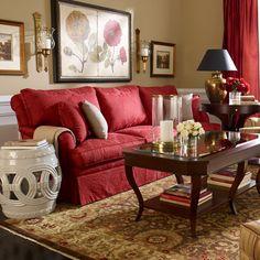 Red rooms. Ethan Allen living rooms. Ethan Allen furniture. Ethan Allen sofas.