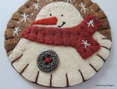 Snowman Ornament Wool Felt Heather Brown by WoollyBugDesigns