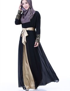 Stunning abaya that can be dressed up for formal events with the removal gold sash, or dressed down for a more casual look.Comes in black, blue grey, purple, green, and lavender. Measurements: see chart :) 1 inch = 2.54 cm Fabric Type: Chiffon Decoration: Appliques