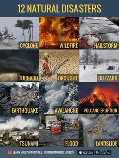 English vocabularyYou can find Natural disasters and more on our website. Hello English, English Fun, Learn English Words, English Writing, English Study, English Lessons, English Grammar, Weather Vocabulary, Science Vocabulary