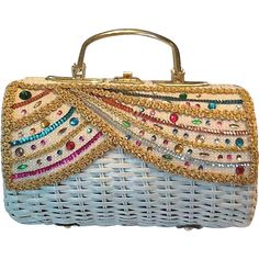 50's Straw and Rhinestone summer bag