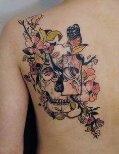 inked tattoo flower skull ink back