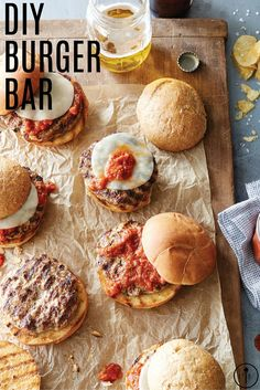 Make your guests feel like gourmet burger chefs when you deck out a DIY burger bar with a beautiful array of unique toppings and specialty condiments. Gourmet Hamburgers, Burger Party, Pampered Chef Recipes, Grilling Ideas, 21 Birthday, Independent Consultant, Host A Party, Bar Ideas, Beverage