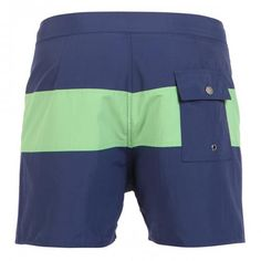BLUE NYLON MID-LENGTH BOARDSHORTS WITH GREEN BAND - Grant blue nylon swim shorts with contrast green band. Fixed waist with drawstring and Velcro closure Back snap-button pocket. Inside lining. Saturdays Surf NYC label stitched on hem.  #mrbeachwear #stripes #summer #fashion #men #style #boardshort #sun #onlineshop #2014 #saturdayssurf