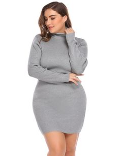c2ab256b4dd IN VOLAND Women s Dress Autumn Big Size XL 4XL Turtleneck Long Sleeve Solid  Bodycon Pullover Sweater Large Dresses Plus Size-in Dresses from Women s ...