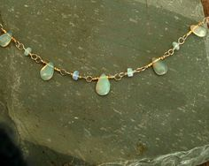 Opal Necklace Ethiopian opals smooth fire opal by bluegreenjewels, $120.00
