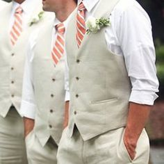 Fall wedding classy, but relaxed. Love the ties. Maybe not these colors, but overall look is nice.