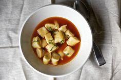 Gnocchi in tomato broth by smitten, via Flickr
