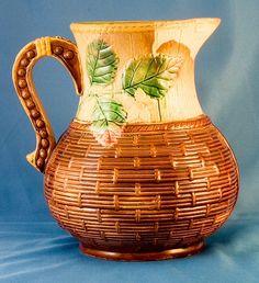 Basketware majolica pitcher