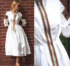 ❤️ Embroidery On Clothes, Embroidered Clothes, Boho Fashion, Fashion Dresses, Womens Fashion, Remake Clothes, Ukrainian Dress, 70s Outfits, Iranian Women Fashion