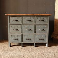 industrial style bank of drawers