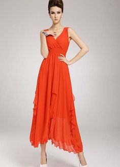 Stunning Orange Red Chiffon V Neck High Waist Dress
