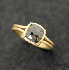 14k Yellow Gold and Gray Rosecut Diamond by onegarnetgirl on Etsy, $1698.00