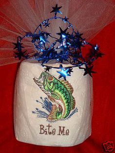 Gag gift free ship to USA EMBROIDERED TOILET paper BASS FISH BITE ME FISHERMAN TOILET PAPER roll smoke free pet free